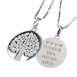 Colgante Árbol de la Vida plata grabado corazones