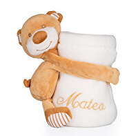 EMBROIDERED BABY BLANKET WITH TEDDY BEAR