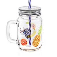 Glass drinking jar with lid and straw
