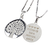 Engraved silver pendant tree of life hearts