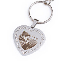 Heart shaped engraved keychain