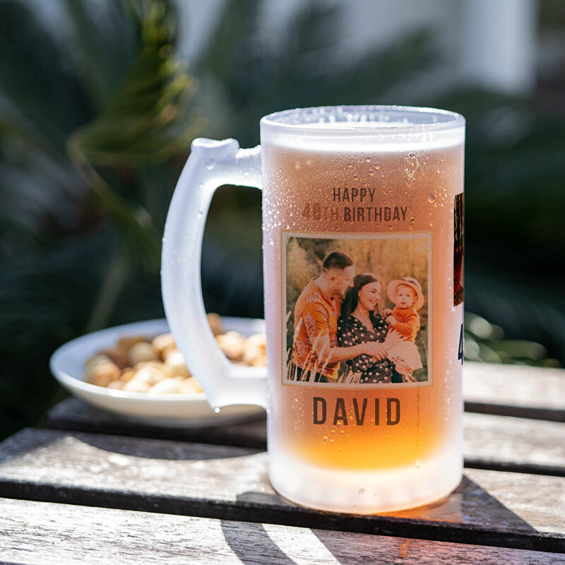 Personalised beer mug as a gift for a man