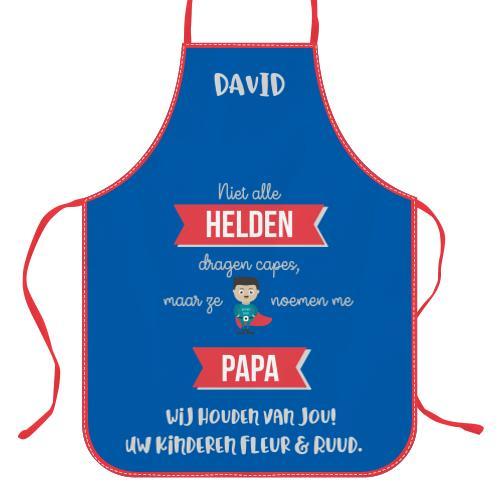 Wanapix Keukenschort Niet alle helden dragen capes, maar …  met foto en tekst bedrukken