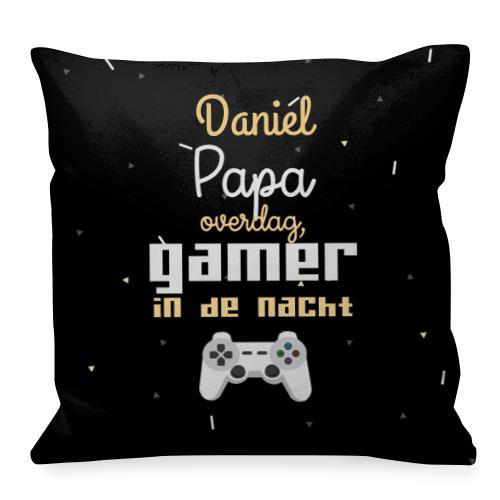 """Wanapix Vierkant Kussen """"Papa & Gamer met foto en naam bedrukken"""